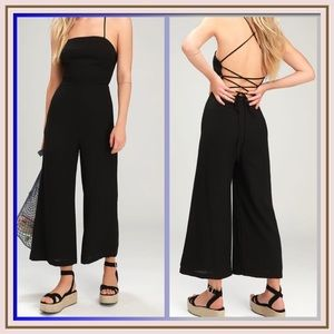 Adelia Black Lace Up Culotte Jumpsuit